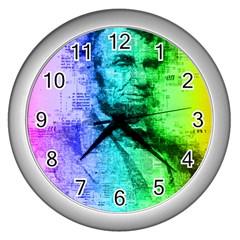 Abraham Lincoln Portrait Rainbow Colors Typography Wall Clocks (Silver)