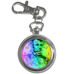 Abraham Lincoln Portrait Rainbow Colors Typography Key Chain Watches