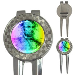 Abraham Lincoln Portrait Rainbow Colors Typography 3-in-1 Golf Divots