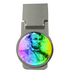 Abraham Lincoln Portrait Rainbow Colors Typography Money Clips (Round)