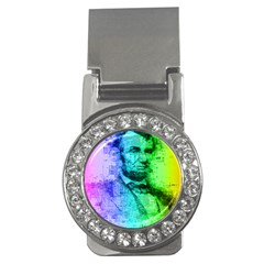 Abraham Lincoln Portrait Rainbow Colors Typography Money Clips (CZ)