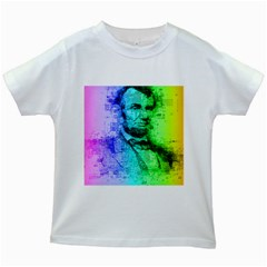 Abraham Lincoln Portrait Rainbow Colors Typography Kids White T-Shirts