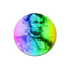Abraham Lincoln Portrait Rainbow Colors Typography Magnet 3  (Round)