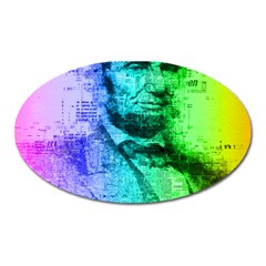 Abraham Lincoln Portrait Rainbow Colors Typography Oval Magnet