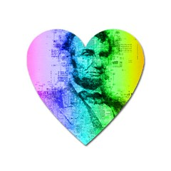 Abraham Lincoln Portrait Rainbow Colors Typography Heart Magnet