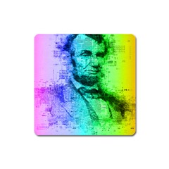 Abraham Lincoln Portrait Rainbow Colors Typography Square Magnet