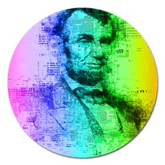 Abraham Lincoln Portrait Rainbow Colors Typography Magnet 5  (Round)
