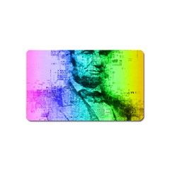 Abraham Lincoln Portrait Rainbow Colors Typography Magnet (Name Card)