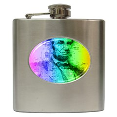 Abraham Lincoln Portrait Rainbow Colors Typography Hip Flask (6 oz)