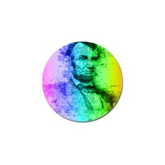 Abraham Lincoln Portrait Rainbow Colors Typography Golf Ball Marker