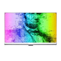 Abraham Lincoln Portrait Rainbow Colors Typography Business Card Holders