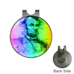 Abraham Lincoln Portrait Rainbow Colors Typography Hat Clips with Golf Markers
