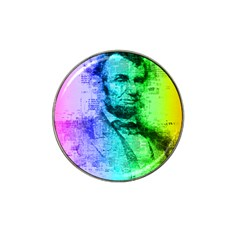 Abraham Lincoln Portrait Rainbow Colors Typography Hat Clip Ball Marker (4 pack)