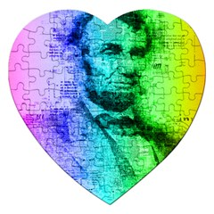 Abraham Lincoln Portrait Rainbow Colors Typography Jigsaw Puzzle (Heart)