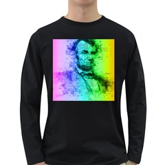 Abraham Lincoln Portrait Rainbow Colors Typography Long Sleeve Dark T-Shirts