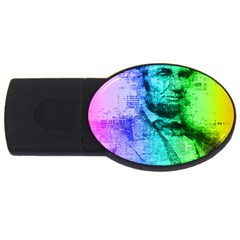 Abraham Lincoln Portrait Rainbow Colors Typography USB Flash Drive Oval (4 GB)