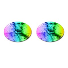 Abraham Lincoln Portrait Rainbow Colors Typography Cufflinks (Oval)