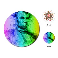 Abraham Lincoln Portrait Rainbow Colors Typography Playing Cards (Round)