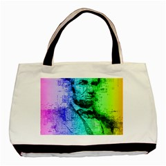 Abraham Lincoln Portrait Rainbow Colors Typography Basic Tote Bag