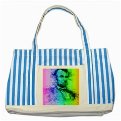 Abraham Lincoln Portrait Rainbow Colors Typography Striped Blue Tote Bag