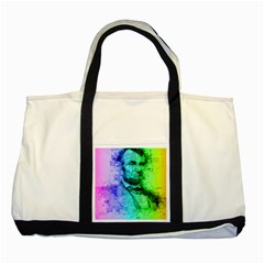 Abraham Lincoln Portrait Rainbow Colors Typography Two Tone Tote Bag