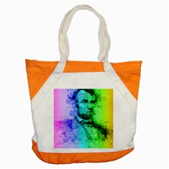 Abraham Lincoln Portrait Rainbow Colors Typography Accent Tote Bag