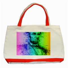 Abraham Lincoln Portrait Rainbow Colors Typography Classic Tote Bag (Red)