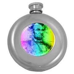 Abraham Lincoln Portrait Rainbow Colors Typography Round Hip Flask (5 oz)