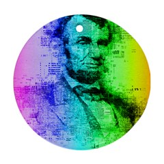 Abraham Lincoln Portrait Rainbow Colors Typography Round Ornament (Two Sides)