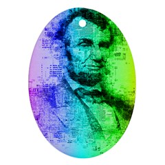 Abraham Lincoln Portrait Rainbow Colors Typography Oval Ornament (Two Sides)