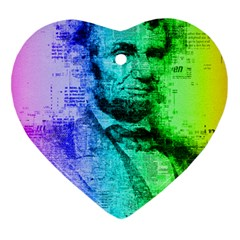 Abraham Lincoln Portrait Rainbow Colors Typography Heart Ornament (Two Sides)
