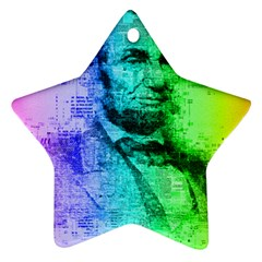 Abraham Lincoln Portrait Rainbow Colors Typography Star Ornament (Two Sides)