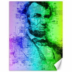 Abraham Lincoln Portrait Rainbow Colors Typography Canvas 12  x 16