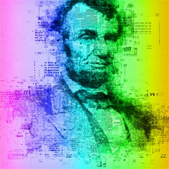 Abraham Lincoln Portrait Rainbow Colors Typography Canvas 20  x 20