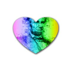 Abraham Lincoln Portrait Rainbow Colors Typography Rubber Coaster (Heart)