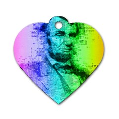 Abraham Lincoln Portrait Rainbow Colors Typography Dog Tag Heart (One Side)