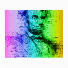 Abraham Lincoln Portrait Rainbow Colors Typography Small Glasses Cloth (2-Side)
