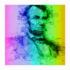 Abraham Lincoln Portrait Rainbow Colors Typography Medium Glasses Cloth (2-Side)