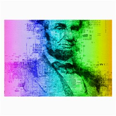 Abraham Lincoln Portrait Rainbow Colors Typography Large Glasses Cloth