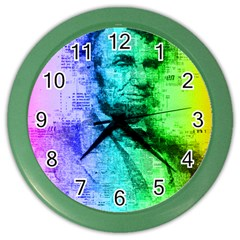 Abraham Lincoln Portrait Rainbow Colors Typography Color Wall Clocks