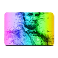 Abraham Lincoln Portrait Rainbow Colors Typography Small Doormat