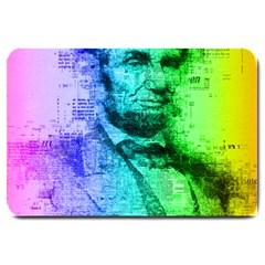 Abraham Lincoln Portrait Rainbow Colors Typography Large Doormat