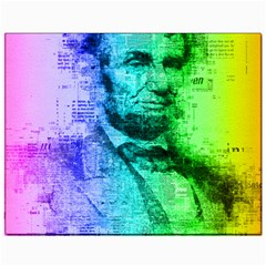 Abraham Lincoln Portrait Rainbow Colors Typography Canvas 11  x 14