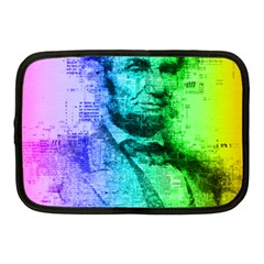 Abraham Lincoln Portrait Rainbow Colors Typography Netbook Case (Medium)