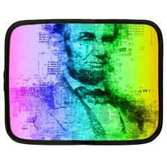 Abraham Lincoln Portrait Rainbow Colors Typography Netbook Case (Large)