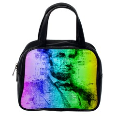 Abraham Lincoln Portrait Rainbow Colors Typography Classic Handbags (One Side)