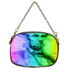 Abraham Lincoln Portrait Rainbow Colors Typography Chain Purses (One Side)