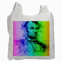Abraham Lincoln Portrait Rainbow Colors Typography Recycle Bag (One Side)