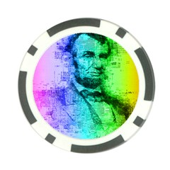 Abraham Lincoln Portrait Rainbow Colors Typography Poker Chip Card Guard (10 pack)