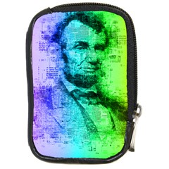 Abraham Lincoln Portrait Rainbow Colors Typography Compact Camera Cases